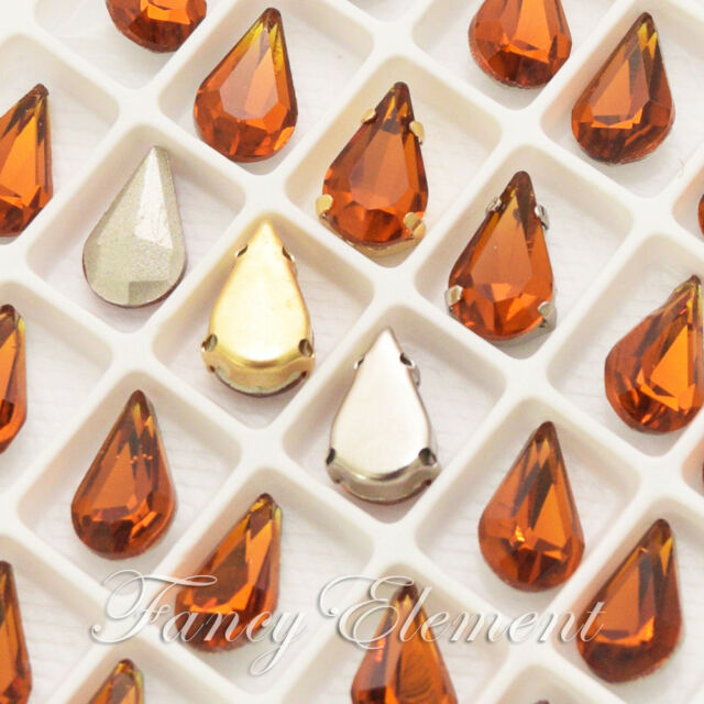 8x13mm Glass Teardrop Mocca Brown Crystal Sew On Rhinestone Faceted Beads Jewley