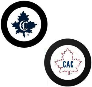 Montreal Canadiens 1910 & 1911 Vintage NHL Logo Souvenir Hockey Pucks (2-Pack)