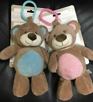 Kellybaby 10 Cuddle Bear Baby Pram Toy W/rattle Your Choice Pink Or Blue