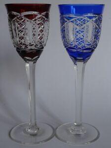 Impartial 2 Anciens Verres A Vin Du Rhin Roemer Couleur En Cristal Art Deco Ht 21 Cm Prix Raisonnable
