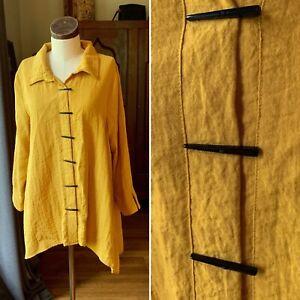 HABITAT Womens Mustard Yellow Rayon Chopstick Long Sleeve Swing Top M