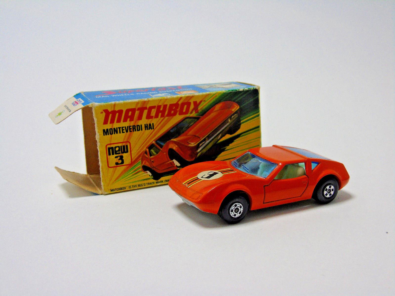 No.3 1973 Matchbox Superfast orange ( 3) Monteverdi Hai 1 58 Scale Boxed