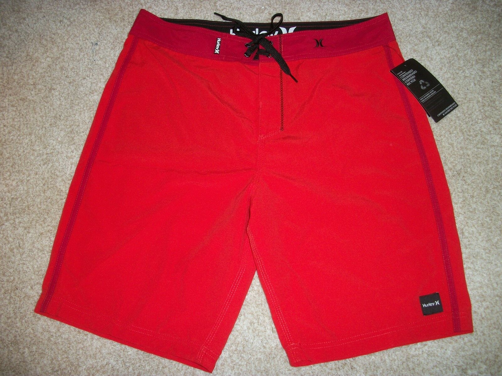HURLEY New NWT Mens Board Shorts Swim Red Solid Square Logo 32 38