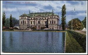 Dresden-Sachsen-alte-Ansichtskarte-1910-20-Partie-am-Palais-im-Grossen-Garten