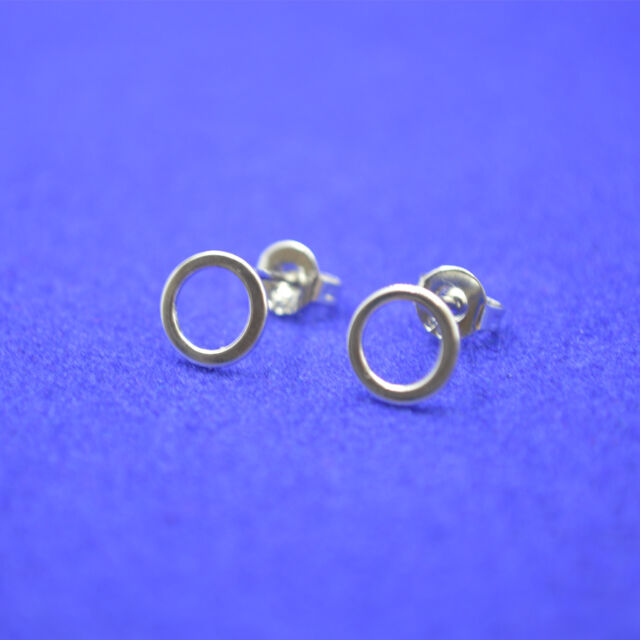 Shiny Solid 925 Sterling Silver Cute Little Cutout Geo Circle Loop Stud Earrings