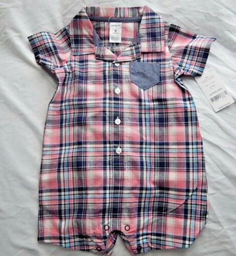 Details about  /Carter/'s Plaid /& Chambray Romper Baby size 9m and 18m nwt