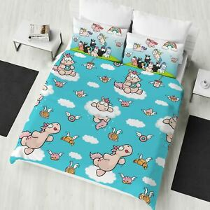 Nici-Theodore-Licorne-Double-Housse-de-Couette-amp-Taies-D-039-Oreiller-Filles-2-IN