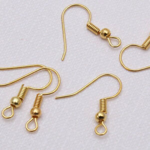 100PCS-DIY-Gold-Sliver-Plated-Jewelry-Making-Findings-Earring-Hook-Coil-Ear-Wire
