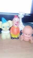 Lot 4 Vintage Rubber Squeaker Toys Delacoste Giraffe Sophie Elephant Clown Baby