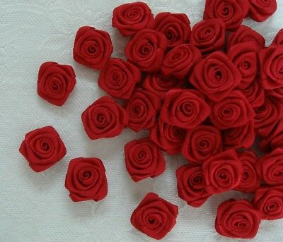 "1/"" Shocking Pink Satin Polyester Ribbon Roses Flower Appliques-Lots of 50pcs"