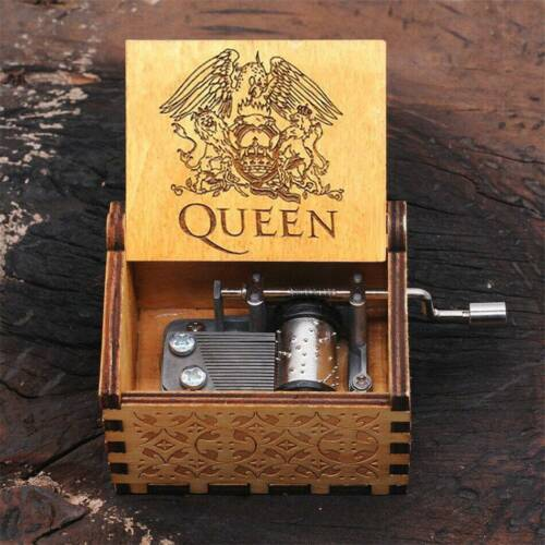 Queen Music Box Engraved Wooden Hand Crank Interesting Toy Christmas Gift
