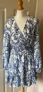 Lipsy-Holiday-Dress-12-Blue-White-Easy-Care-Lined-Boho-Long-Sleeved-Beach