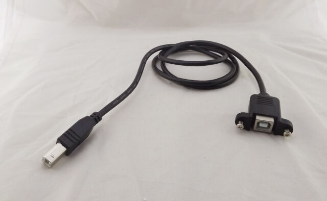 1x USB 2.0 A Female Socket Panel Mount To USB B Male Plug Extension Cable 1m 3FT