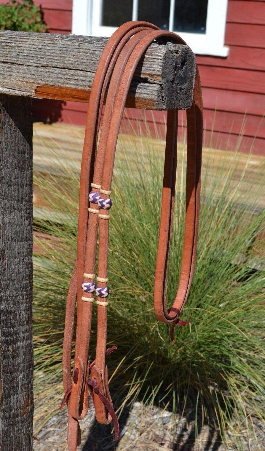 5 8  José Ortiz Arnés Split riendas trenzado cuero crudo natural púrpura nudos - 8 ft.