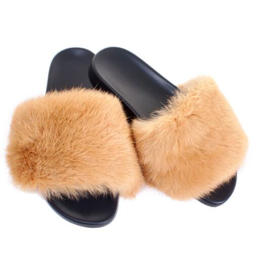 Gold Fell Latschen Pelz Pantoffeln mit gelb Kaninchen Fell Schlappen Sandalen
