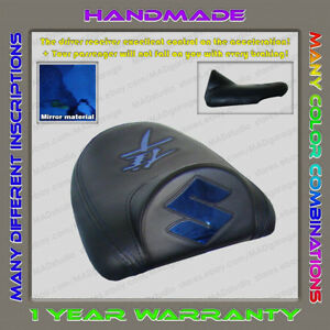 Unique-Custom-REAR-Seat-COVER-Black-Blue-Chrome-Suzuki-Hayabusa-99-07-First-Gen