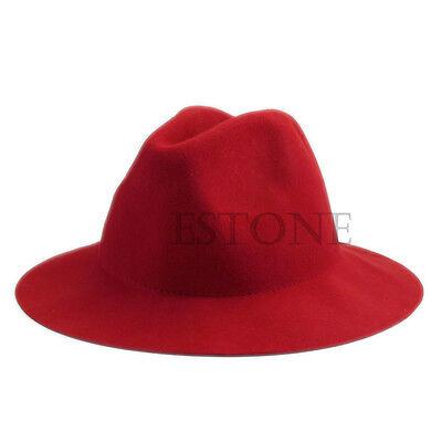 Fashion Women Vintage Wide Brim Wool Felt Hat Classical Floppy Bowler Fedora Cap