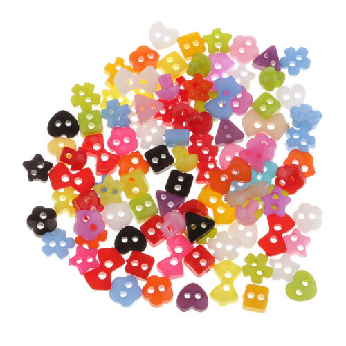 100 rebanadas colorido mini resina botones para coser scrapbooking 5-6mm