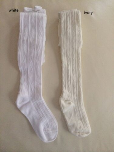 1-8yrs white ivory khaki black NEW Kids Girls School Cotton Knit Sock Tights