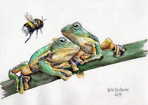 Frogs-And-Bumblebee-original-watercolor-animal-painting-reptile-garden-art
