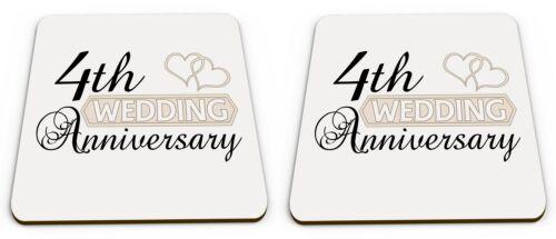 Pair of Wedding Anniversary Two Hearts Glossy Mug Coasters 1st - 70th