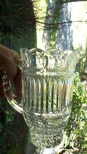 Pitcher-Creamer-Press-Cut-Glass-Vintage-Depression-Sauce-Juice-Pineapple-Design