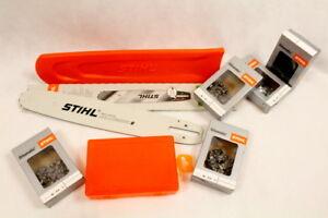 Stihl Führungsschiene 6817 Box Schutz 5 Ketten Halbmeißel 74TG Set für STIHL 291