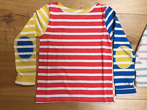 BABY GIRLS EX MINI BODEN STRIPE TOP WITH ELBOW PATCH TOP TSHIRT 18-24 MONTHS