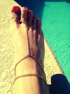 Multi-layer Tassel Gold Slave Foot Chain Toe Ring Ankle Sandal Barefoot Bracelet