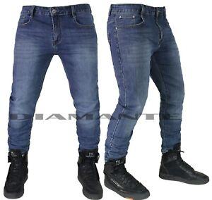 Jeans-uomo-Denim-blu-pantaloni-5-tasche-slim-elasticizzati-nuovo-568