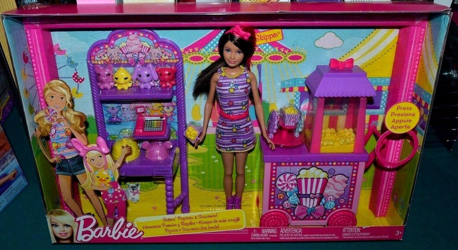 Nuevo En Caja-raro Palomitas & Recuerdos Playset Parque De Diversiones-Skipper Barbie-Algodón De Azúcar