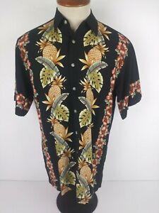 1d86795d8f Image is loading Campia-Moda-Mens-Medium-Black-Pineapple-Floral-Hawaiian-
