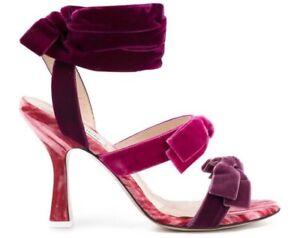 Attico-Pink-Purple-Velvet-Wraparound-Open-Toe-Pumps-Sandal-Shoes-37-5-Never-Worn
