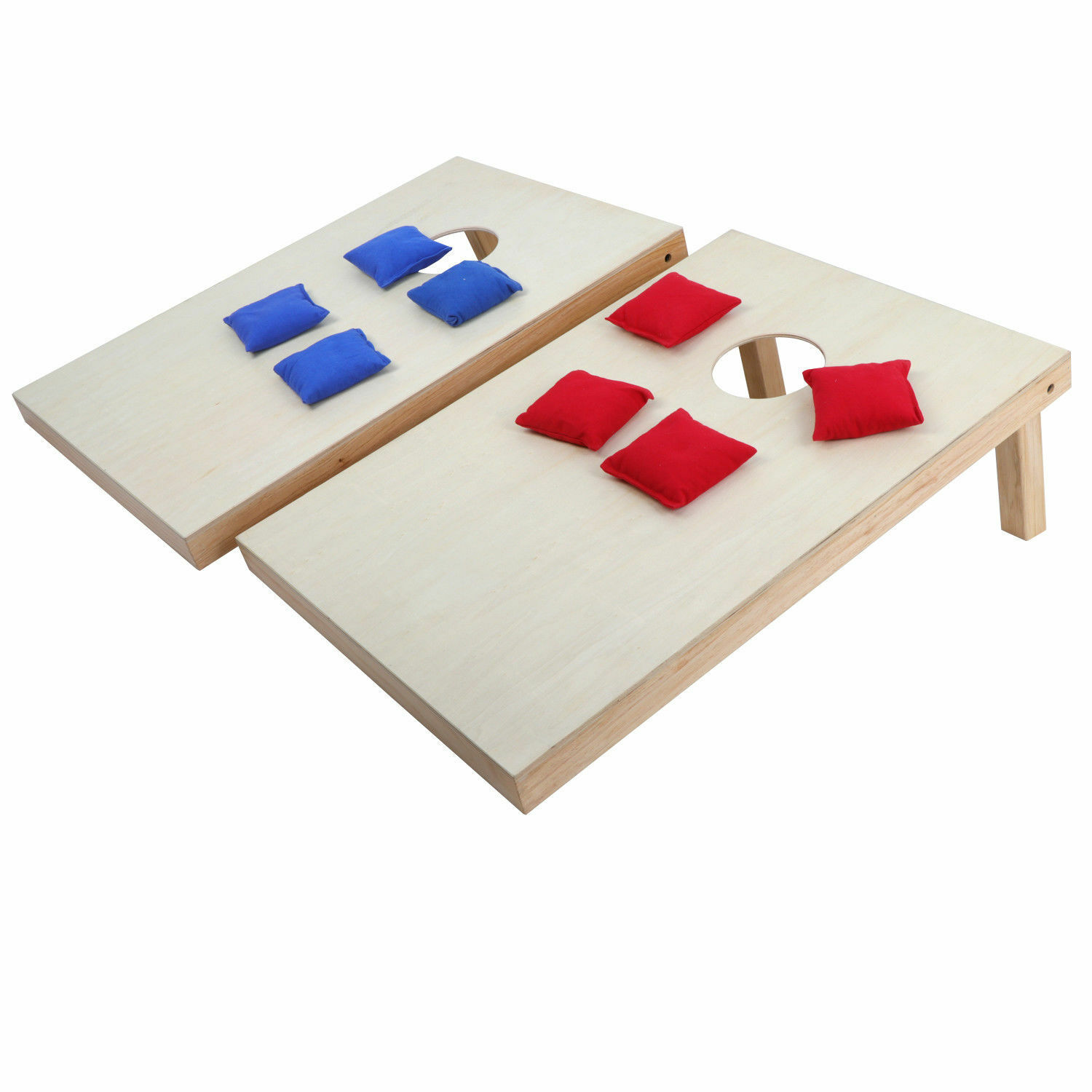 Unfinished 3 x 2' Wooden Cornhole Bean Bag Toss Game Set Foldable W  Carry Case