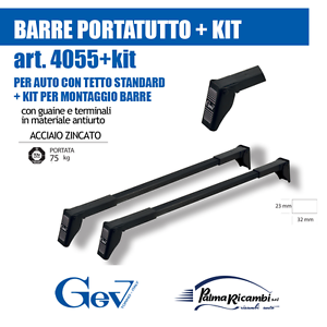 KIT per AUTO CON TETTO STANDARD SENZA BARRE LONG 4055+6 BARRE PORTATUTTO GEV