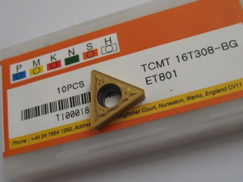 10 x TCMT16T308-BG ET801 TCMT SOLID CARBIDE TURNING INSERTS EUROPA TOOL  #S