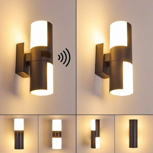 LED Wand Strahler Haus Tür Außen Beleuchtung Edelstahl Garten Hof Lampe silber
