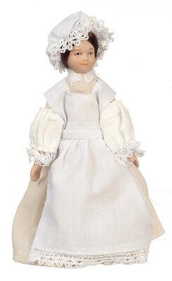Dollhouse Miniature Doll  Maid Beige Dress Porcelain 1:12 Scale