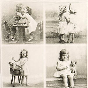 4x-Paper-Napkins-for-Decoupage-Craft-Sagen-Vintage-4-Happy-Children