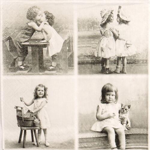 4x Paper Napkins for Decoupage Craft Sagen Vintage 4 Happy Children