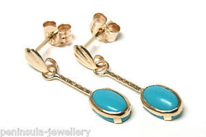 9ct Gold Turquoise Drop Earrings 18ht34a