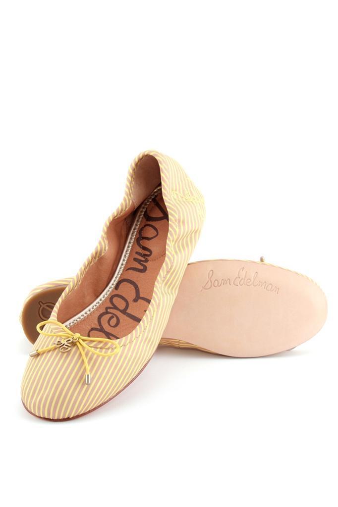 Sam Edelman Felicia Citron De Pin Stripe Flats Zapatos De Citron Ballet Recuperadores Para Mujer Arco Nuevo 55dcb4