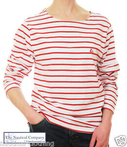 46d3789310 Ladies Sailor White/Red Striped Breton Top T Shirt Women 8/10/12/14 ...