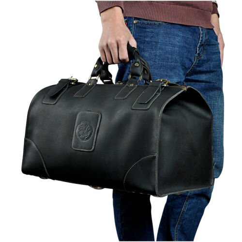 Men Vintage Real Leather Travel Luggage Bag Duffle Gym Bag Tote Suitcase
