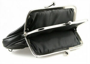 Black-Genuine-Leather-Women-Dual-Compartment-Large-Coin-Purse-Change-holder-New