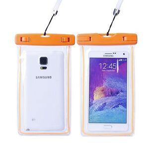 Housse-etanche-transparente-et-fluorescente-pour-smartphone-norme-IPX8-Orange