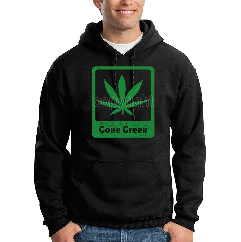 Gone Grün Pot Leaf Marijuana Weed Chronic 420 Kush Hooded Sweatshirt Hoodie