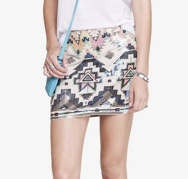 NWT Express Tribal Multicolor Boho Bodycon Sequin Occasion Party Skirt Size XS