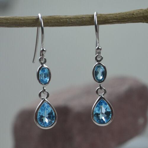 925 Sterling Silver Blue Topaz Garnet Peridot  Gemstone Earring Jewelry Earrings