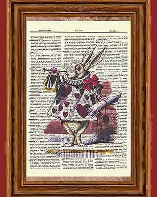 Alice in Wonderland Flamingo Dictionary Art Print Book Page Mixed Media OOAK
